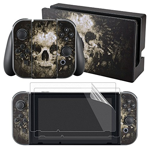 eXtremeRate Full Set Faceplate Skin Decal Stickers for Nintendo Switch with 2Pcs Screen Protector (Console & Joy-con & Dock & Grip) -Skull from eXtremeRate