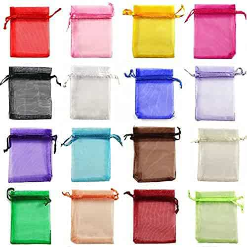 yueton 100 Pieces Assorted Color Organza Drawstring Pouches Candy Jewelry Party Wedding Favor Present Bags 3-1/2W 4-1/2L Inch