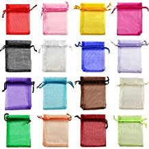 yueton 100 Pieces Assorted Color Organza Drawstring Pouches Candy Jewelry Party Wedding Favor Gift Bags, 1.6 Ounce