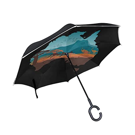 Australia Map Upside.Amazon Com Senya Reverse Inverted Windproof Umbrella Australia Map
