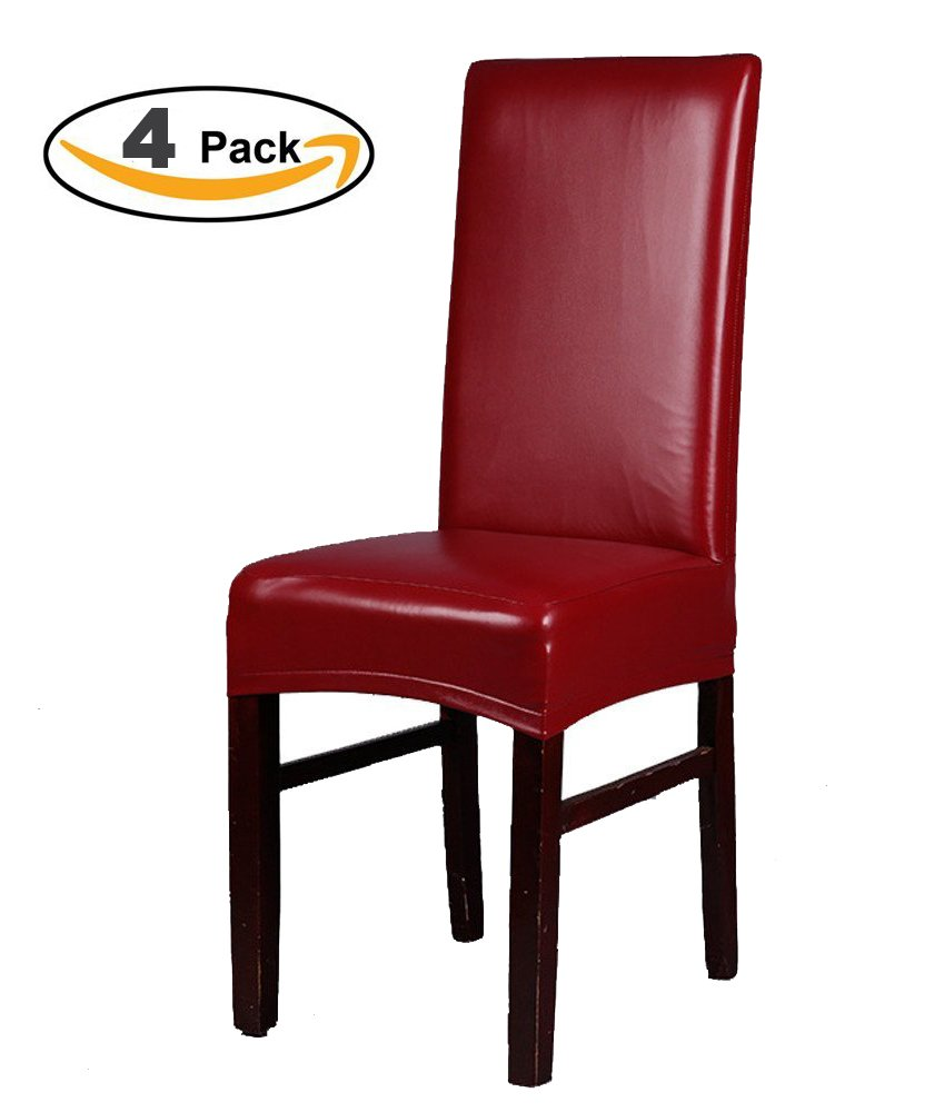 Sigmat Waterproof PU Faux Leather Chair Slipcovers Stretch Protector Covers for Dining Room Chair 4PCS Burgundy