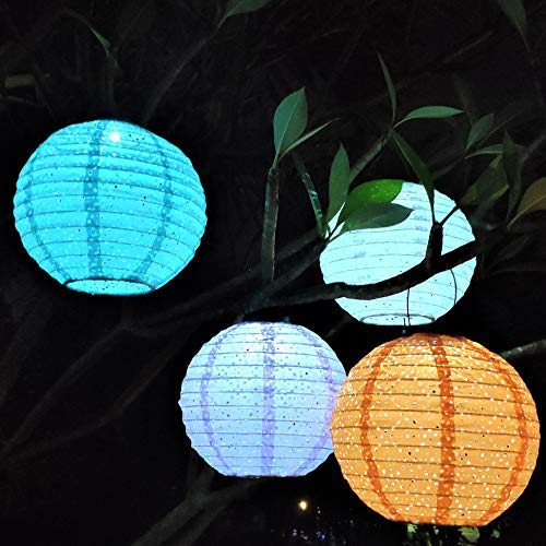 ExcMark Solar Lanterns Outdoor Hanging, Solar Lights Outdoor Decorative, Nylon Chinese Hanging Lanterns for Home and Garden Decoration, Parties Weddings and Holiday Decor. 10 inches, Set of 4 Colors. by ExcMark