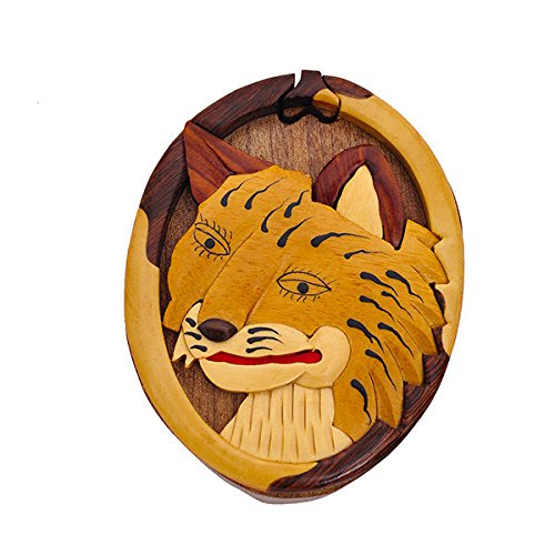 (Handmade Wooden Art Intarsia TRICK SECRET Bobcat Head as Puzzle Trinket Box Puzzle Box (3432) (g2))