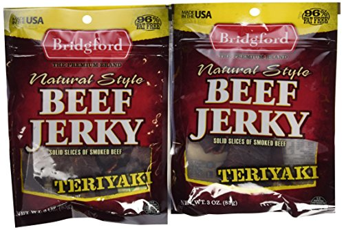 Bridgford Beef Jerky, Teriyaki, 3-Ounce Pouches (Pack of 6)