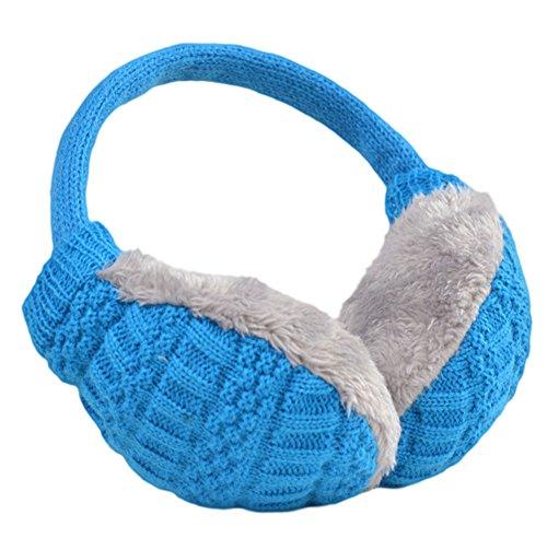 Knolee Unisex Knitting EarMuffs Faux Furry Earwarmer Winter Outdoor EarMuffs,Sky blue]()