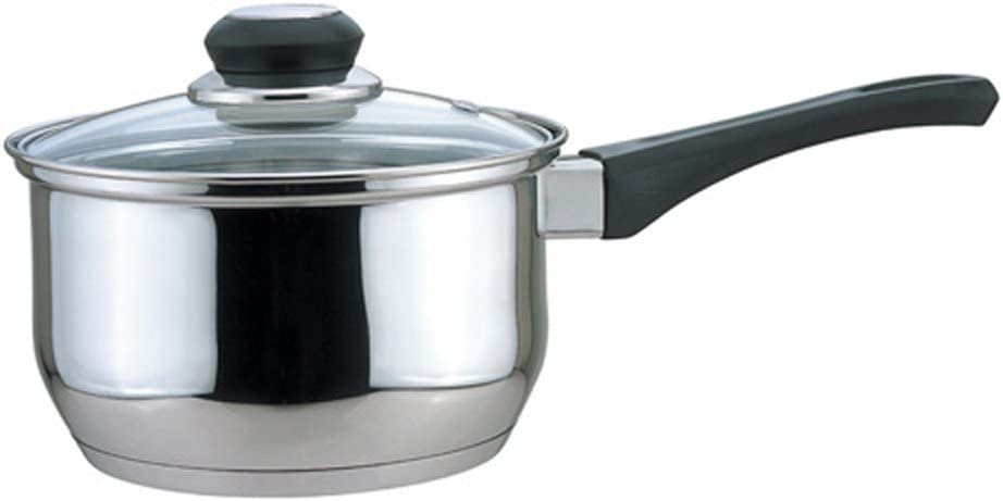 Culinary Edge Roll Over Image to Zoom Saucepan with Glass Cover, 1-Quart, 1 qt, Stainless Steel