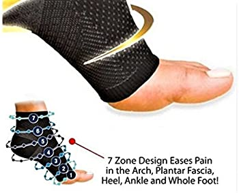 Plantar Fasciitis Compression Sock Sleeve (Pair) - Heel Arch Support/ Ankle Sock, Great for Hiking (Black) (Extra Large)