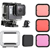 SOONSUN 45m Waterproof Dive Housing Case with 3-Pack Dive Filters for GoPro HERO5 HERO6 Black - Includes Skeleton Backdoor, Quick Release Buckle, Thumb Screw, Tripod Adapter and Silicone Lens Cap