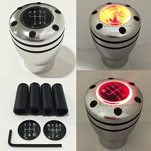 Sport 6 Speed Manual - Mega Racer Manual Transmission Speed 5 6 RED LED Light Silver Sport Gear Stick Shift Knob JDM Style Auto Car Shifter Console Lever