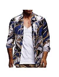 Naladoo Men's Hawaiian Shirt Printed Summer Short/Long Sleeve Button Down Shirt
