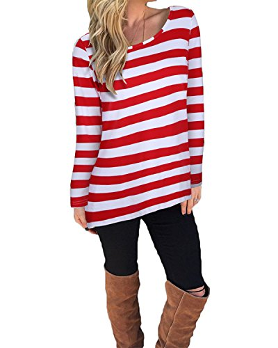 KILIG Women's Casual Long Sleeve Cotton Halloween Stripes T-Shirt ()