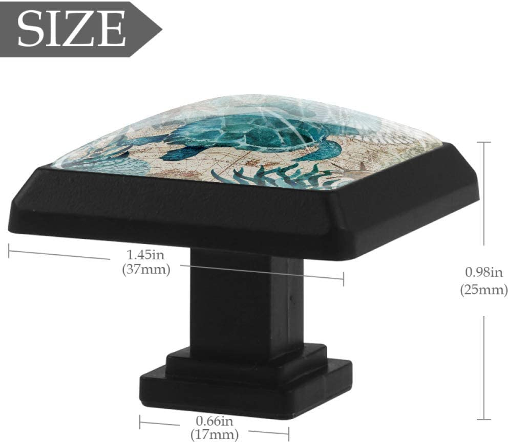FCZ 3 Pieces Vintage Blue Sea Turtle Nautical Map Drawer Knobs Pull Handle Crystal Glass Square Shape Cupboard Drawer Handles with Screws for Home Kitchen Office