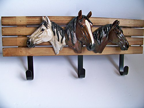 Horse Head Wall Hooks 3 Hooks for Clothes - Towel Sculpture