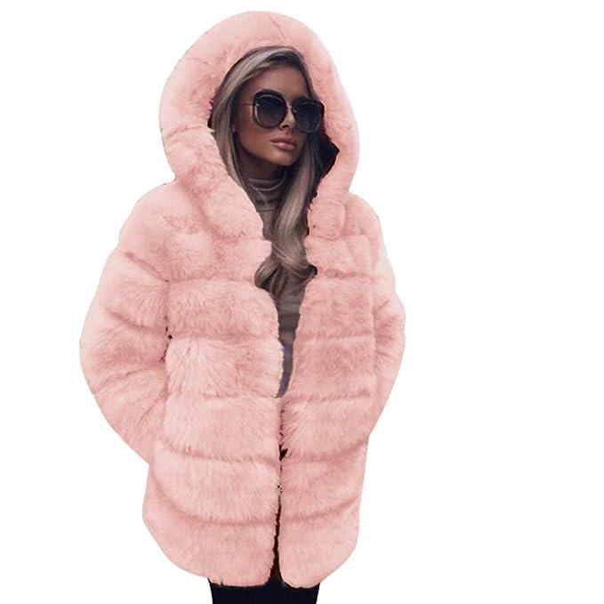 Darringls Abrigos de Invierno Mujer,Chaqueta con Capucha imitación de Piel Abrigo Más Terciopelo Color sólido: Amazon.es: Ropa y accesorios