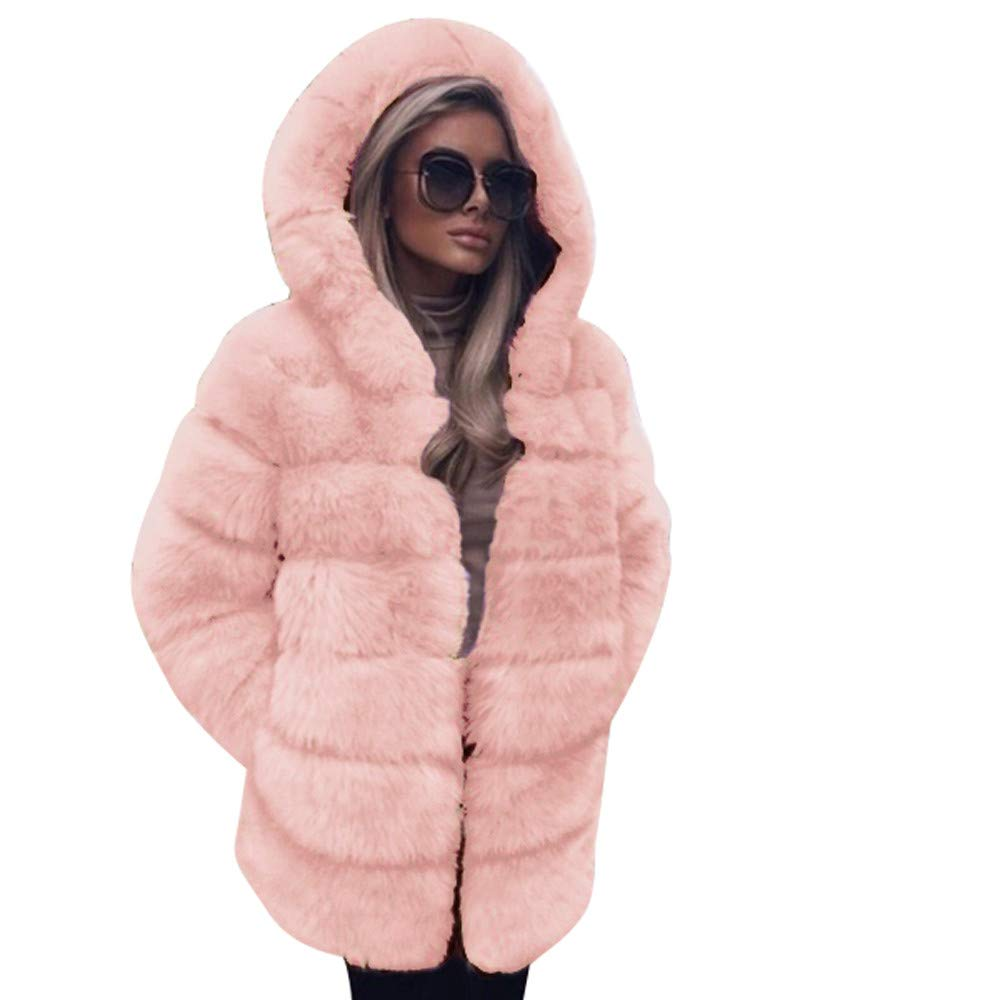 iDWZA Winter Women Fashion Luxury Faux Fur Coat Hooded Autumn Winter Warm Overcoat (White,US XS/CN S)