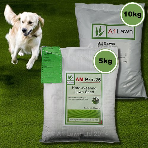 5kg A1LAWN AM PRO-25 HARD-WEARING GRASS SEED & 10kg PRE-SEEDER FERTILISER (MULTI-SAVE PACK)