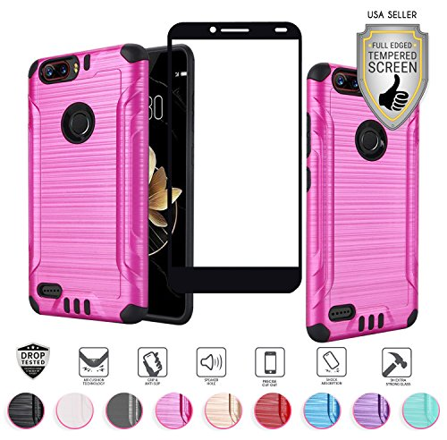 ZTE Blade Z MAX Case (MetroPCS Version Only Z982), with Full Edged Tempered Glass Screen Protector, Heavy Duty Metallic Brushed Slim Hybrid Shock Proof Armor Defender Case (Hot Pink)
