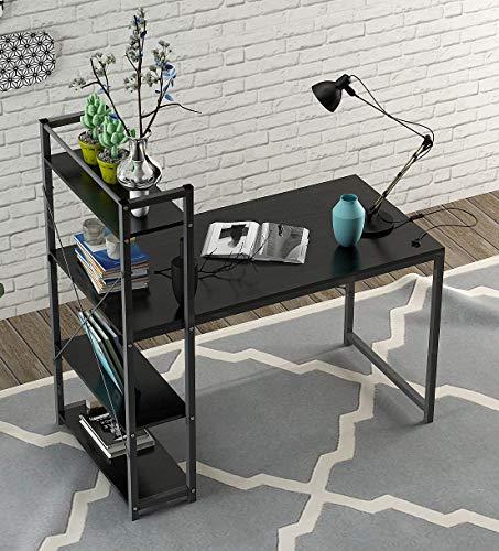 (Computer Desk,Modern Style Office Desk with 4 Tier Bookshelves Workstation,Home Wood & Metal (Black))