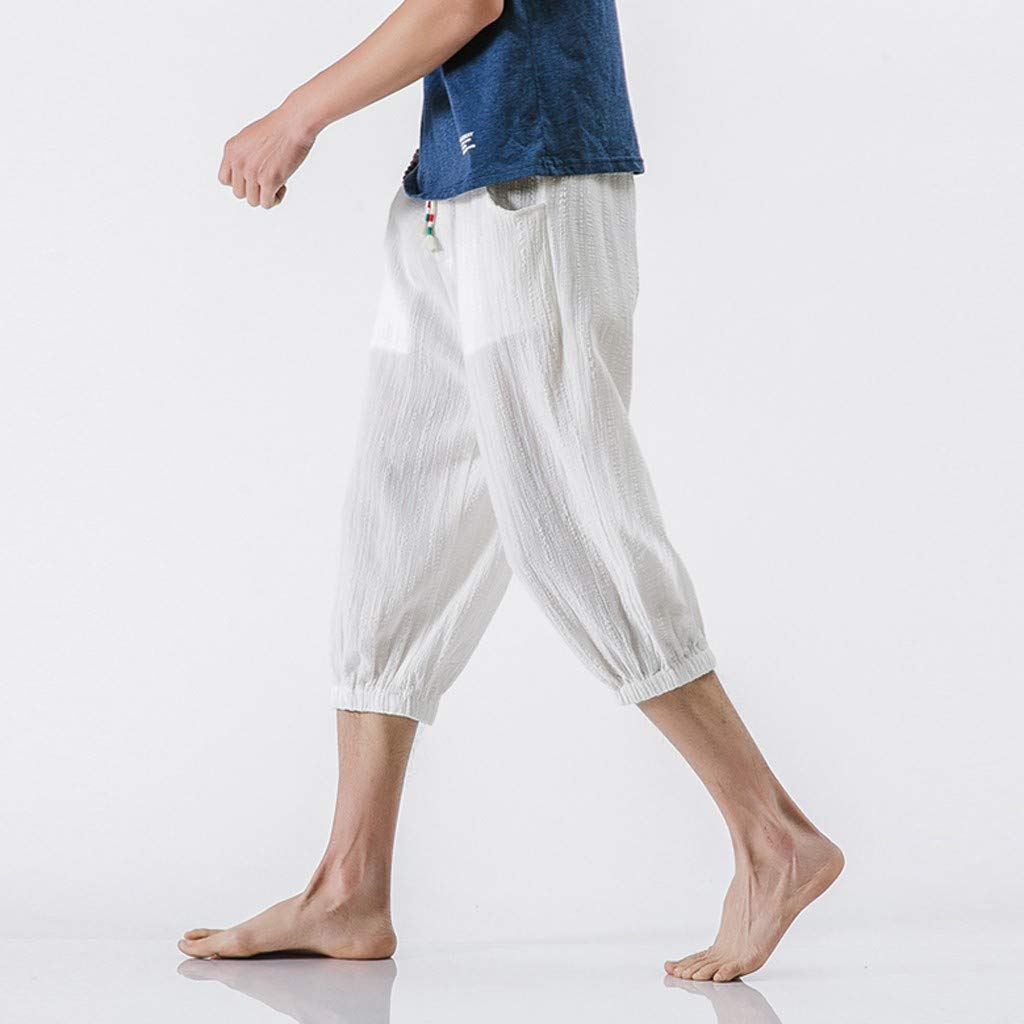yoyorule Casual Pants Mens Fashion Summer Casual Solid Drawstring Cotton Linen 3//4 Pants Trousers