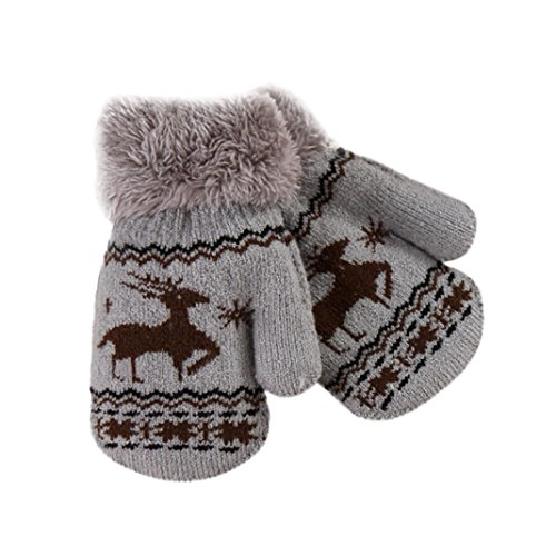 Baby Winter Warm Mittens,ChainSee Boy Girls Christmas Wool Cute Thicken Gloves (Gray, 0-4 years old)