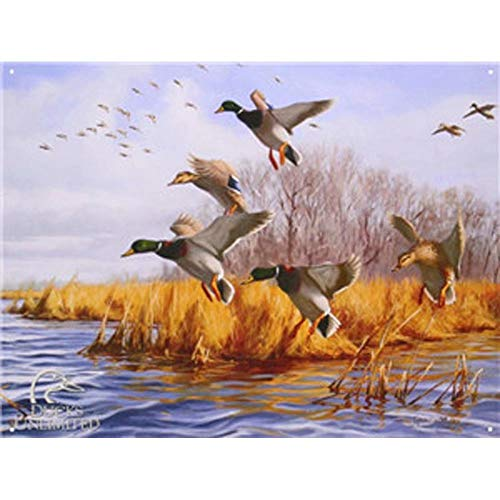YOMIA Vintage Tin Signs Retro Wall Plaques Plate Posters Coffee Decor for Club Bar Hotel Home Antique Metal Painting -Ducks Fly Autumn Winter Water Tree Landscape Picture