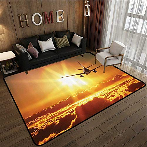 Rugs for Sale,Scenery Decor,Aero Plane Aircraft Widebody Jet Flying on Air Rising Sun with Fluffy Clouds Art,Multi 78.7
