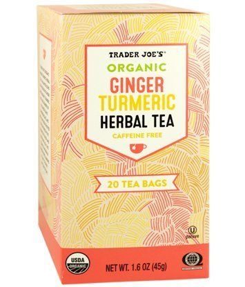 Trader Joe's Organic Ginger Turmeric Herbal Tea 20 Tea Bags (One Pack) Anti Ginger