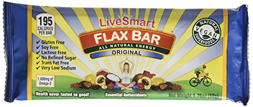 LiveSmart Flax Bar, Original, 1.76 Ounce Bar, 12 Count - Omega Smart Nutrition Bar