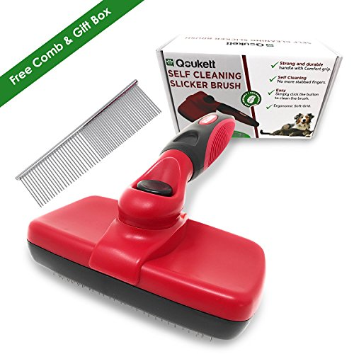 Self Cleaning Slicker Brush For Dogs Pet Grooming Brush For Dog & Cats Deshedding Brush Groom Tool with Built-In Cleaner Button Stainless Steel Detangling Comb & Free Stainless Comb