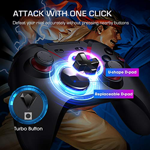 PICTEK Wireless Controller, Rechargeable Bluetooth Gamepad for Android/Switch, 40+ Hours Battery Life Gaming Trigger Joystick Mobile Game Controller with Phone Holder