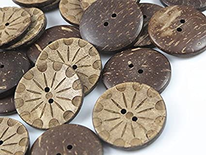 Amazon Com Yaka 50pc New Thick Coconut Shell 2 Holes Button Craft