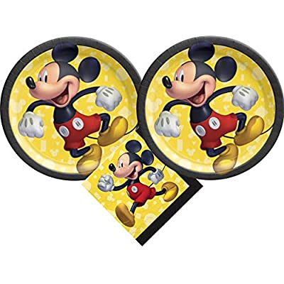 Mickey Mouse Party Supplies Bundle with Dessert Plates and Napkins for 16 Guests: Toys & Games