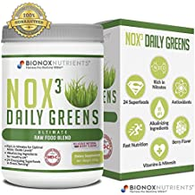 BioNox Nutrients Nox3 Daily Greens - Nitrates for Immune Cardiovascular and Digestive Support - Nitric Oxide Green Superfood Powder - 1 Month Supply - 30 Scoop