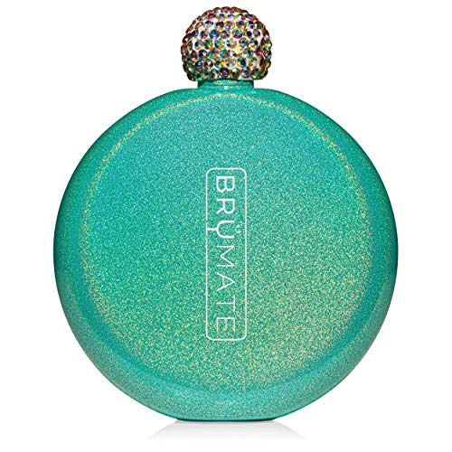 Brümate Holographic Glitter Spirit Flask - 5oz Stainless Steel Pocket & Purse Liquor Flask with Rhinestone Cap - Cute, Girly & Discreet for Drinking - Perfect Gift for Women (Glitter Peacock) (Green Liquor)