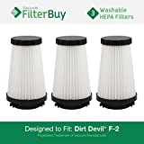 3 - Dirt Devil F2 (F-2) Replacement Filters. Designed by FilterBuy to Replace Dirt Devil Part #s 3SFA11500X & 3-F5A115-00X.