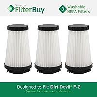 3 - FilterBuy Dirt Devil F2 (F-2) Replacement Filters. Designed by FilterBuy to Replace Dirt Devil Part #s 3SFA11500X & 3-F5A115-00X.