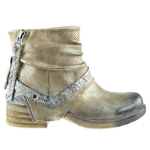 Angkorly - damen Schuhe Stiefeletten - Biker - Reitstiefel - Kavalier - vintage-stil - Schlangenhaut - Perforiert - Nieten - besetzt Blockabsatz 3.5 CM - Gold