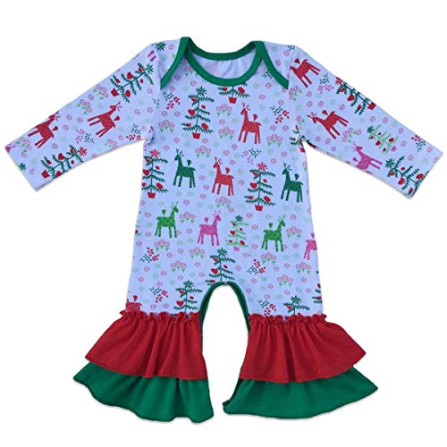 Baby Girls Icing Ruffle Jumpsuit Pants Striped Christmas Long Sleeve Romper Bodysuit Cotton Pajamas Nightwear Birthday Outfits Clothes 0-3 Months -