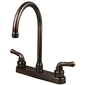 "RV / Mobile Home Kitchen Sink Faucet, OIL RUBBED BRONZE - 14.5"" TALL SPOUT"