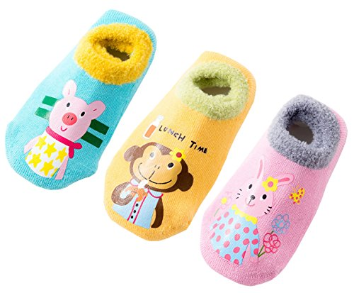 Toddler Kids Cute Thick Warm Non-Slip Cozy Socks Winter (Pack of 3) (Girls, 1-3 Years)