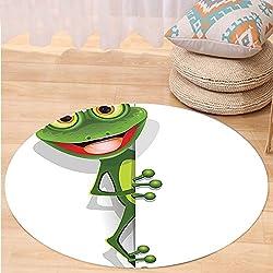 Kisscase Custom carpetCartoon Decor Collection Jolly Frog with Greater Eye Lizard Gecko Smily Childish Funny Cartoon Artwork Print Bedroom Living Room Dorm Green Red White