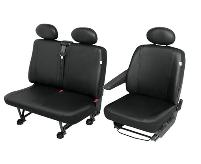 Schonbezüge 1+2 Sitzbezug für Fiat ohne Seitenairbag Schwarz Kunstleder AS7326