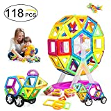 #10: VCANNY Magnetic Blocks, Magnetic Tiles for Kids, Magnetic Building Blocks Set for Boys and Girls, Magnet Tiles Educational Magnetic Toys for Toddlers (118 Piece)