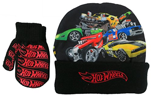 Hot Wheels Boys Beanie Hat and Mitten Set - size 4-7 years [4013]