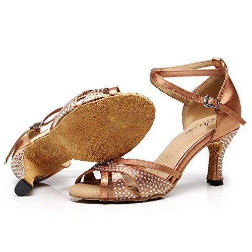 Ladies Salsa Rhinestone Satin Shoes Latin Ballroom GIY Tan Heel Morden Tango Dancing Sandals Dance Women's PHwpIIFq