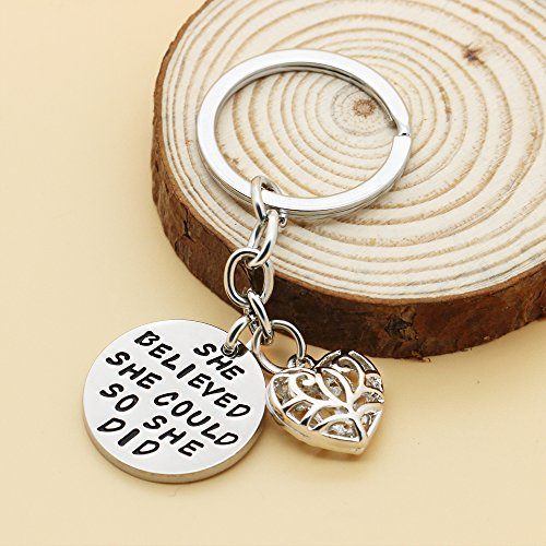 Family Friend Gift Silver She Believed She Could So She Did Double Pendant Key Chain Ring for Women Girl Photo #5