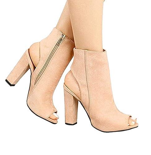 3b2cc2e1d1304 Mine Tom Minetom Verano Botines Shoes Mujer Sandalias Tacon Ancho Suede  Caña Baja Botas con Cremalleras Oficina  Amazon.es  Zapatos y complementos
