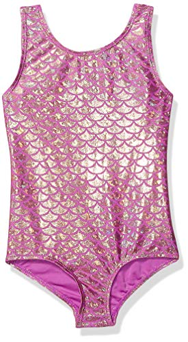 Danskin Girls' Little Gymnastics Leotard, Pink/Gold Mermaid-69172, Small (4/6) (For Pink Gymnastics Girls Leotard)