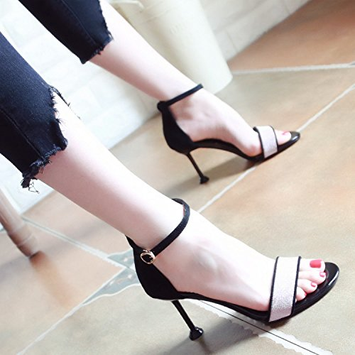 b de de y Verano Toe YMFIE Hueco Nuevo tacón Sandalias Zapatos Correa de Damas 4OaP6q