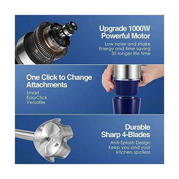 ACOQOOS Frullatore a Immersione, Minipimer 1000W, Mixer a Immersione 4 in 1, 6 Velocità Regolabile, Acciaio Inossidabile… 3